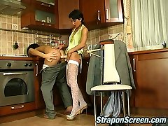 Strap-on armed babe in stockings displaying sissy dude what a real fuck-fest is