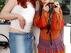 Redhead nymph and her sissy man aching to try out her newly bought strap-on