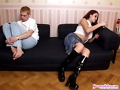 Lewd gal flashing her strap-on to hot guy before fucking each other by turn