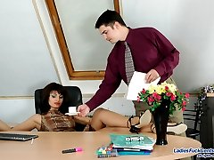 Smashing babe in glossy stockings having hot lunch hour using huge strap-on