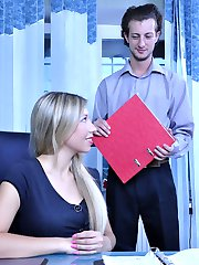 Strapon-armed office babe finds her an ass happy guy for a jolly anal ride
