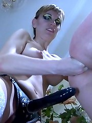 Lusty pussy guy gets his itchy asshole licked and strapon drilled by a girl