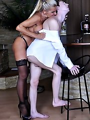 Voluptuous lady talks her young lover into a raw strapon fuck after a dance