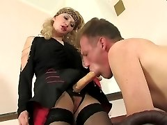 Filthy chick treating guy on leash like her sex toy for strap-on pleasure