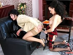 Kinky sissy guy getting mouth and butt packed with strap-on right in office