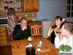 Drunken swingers fucking in kitchenbr