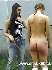 Brutal outdoor caning for innocent teen with nice ass - deep purple bruises and welts