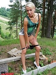 Panty slip and nude nub show upskirt