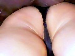 Gorgeous brunette girl walking in sexy black panties. Watch the vids!