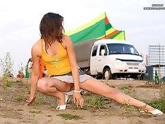 Beach upskirt voyeur