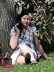 Glamour nylon upskirt exposed on cam