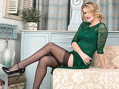 Vanessa mixes a classy 30's frock with an inspired choice of lingerie and hosiery!