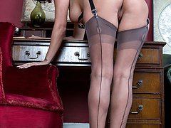 Cassie puts the case forward, wearing heels and sheer grey FF nylons, that you really should masturbate at her .