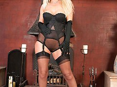 Gorgous blonde MILF plays in her nylons and sheer panties