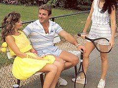 Real retro tennis threesome