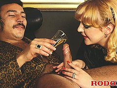 Horny retro couple doing it