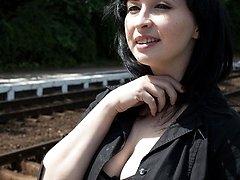Winilianna on a flashing trip to the train station!