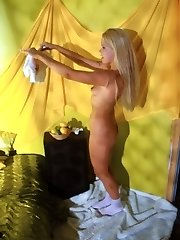 Blonde honey caught undressing by hidden cam cam