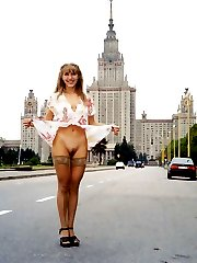 Amateur nudists posing naked in public