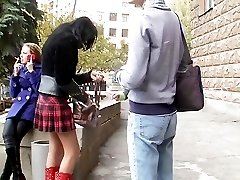 I spied her nice red panty up skirt