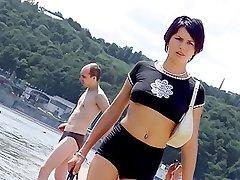 Brunette nudist loves feeling the sun on her body