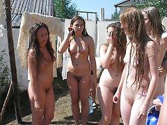 Nude amateur nudists having fun