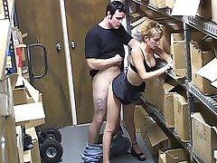 Hidden cam catches a blonde at work fucking her co-worker