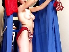Busty lingerie addict caught by spy cam