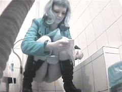 Three sexy girls peeing in front of perverted voyeur