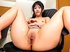 Tsuna Kimura with dark nipples sucks boner while is nailed a lot