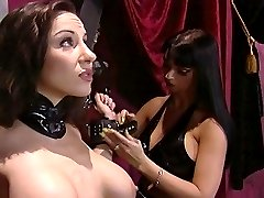 Jewell Marceau cuffed to St.Andrew's Cross and nipple-clamped by busty domme Summer Cummings