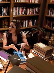 Seda gets punished and humiliated by naughty librarian Bobbi Starr after returning books in bad...