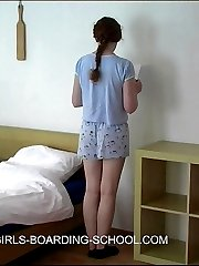 Stunning redhead thrashed to tears in the dormitory