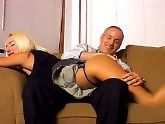 Sexy blonde Paige likes to get her ass red hot spanked before masochist fucking her husband