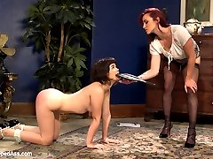 Welcome 19 year old year old Yhivi to Whipped Ass. In this kinky roleplay fantasy Yhivi has a ton of firsts! First time with a woman, first time strap on and first time squirting! Yhivi plays a nieve college student who works at a coffee shop and is having a hard time affording her apartment. Sadistic lesbian real estate agent, Bella Rossi is more than happy to show Yhivi beautiful apartments she can't afford but they come with a price! Lesbian sex in bondage suspension, hard spanking, squirting and anal are all included!