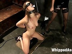 Amber Rayne is back domming and has Kiera King as her pet. Amber's new fucktoy is brought down to the dungeon space and put in cock-squeezing string bondage and subjected to tough lesbian BDSM. Amber arches Kiera over her knee and slaps her bum red. She's put on the most intense vibrator in the world, the sybian saddle, and taunted with the hope of orgasm while she's eyes covered and helpless. Kiera is made to lick Amber's culo while having her feet caned, has her tits pinned and even has hot wax poured on her tongue. She's boned in the muff and caboose and made to pray for all her orgasms.