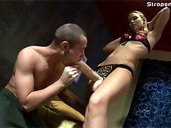 Femdom slave impales his poor ass onto a totally enormous rubber strap-on