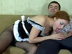 Upskirt French maid involved into fetish pantyhose screwing by her master