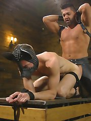 Master Pacifico, clad in full leather, walks into the dungeon to find a sleeping slave lying...