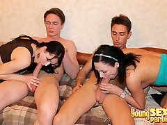 Ultra-cute foursome sex party