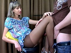 Tall babe parts her mile-long legs in control top tights for her boyfriend