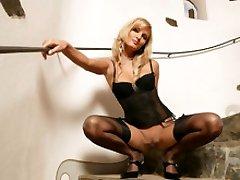 Blond Pavla masturbating  in tights