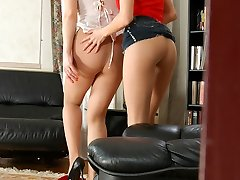 Naughty gals putting on fresh pantyhose and munching on a dinky in 3 way