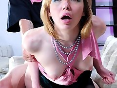 Haughty chick in classy seamed stockings gets worshipped before raw dicking