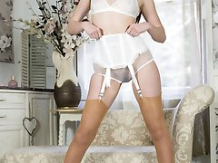 Becky in 60s style outfit with vintage textured RHT nylons, white calf leather pumps and an exquisite garter belt!
