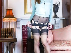 Under Roxy's innocent exterior is sheer black nylon stockings and sexy see through panties, and a very racy conclusion!