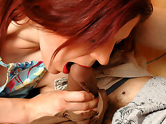 Redhead housewife doesn�t change her cream-colored pantyhose after harsh fucking