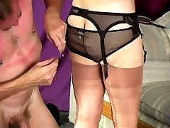 He helps with the nylons and garter
