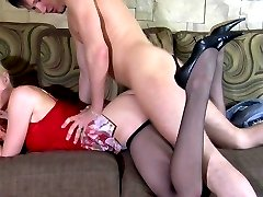 Passionate chick in barely black pantyhose going wild in hot intercourse