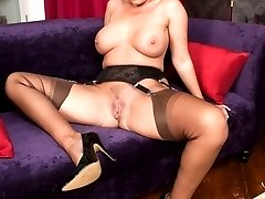 Curvy blonde bombshell Taylor teases in retro lingerie and Harmony Point ff nylons!